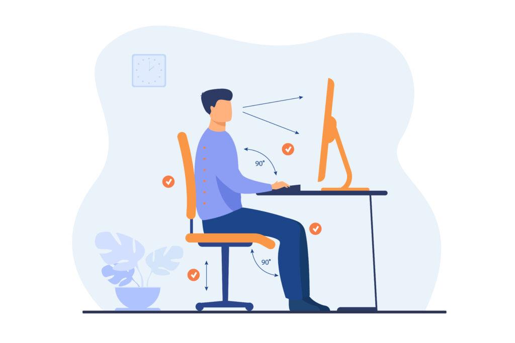 homme devant son ordinateur gestes et postures